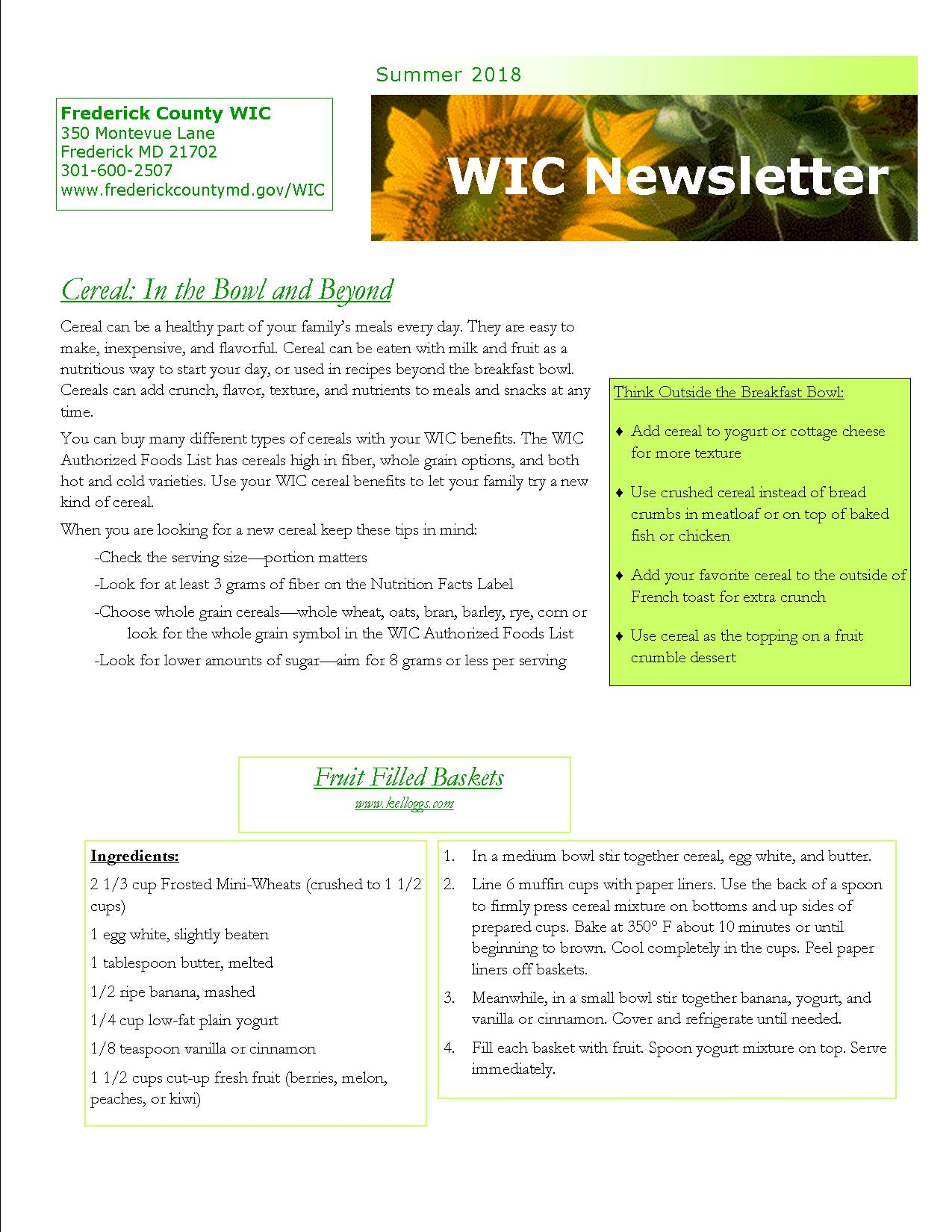 Picture of Summer 2018 Newsletter first page, link to the full text at the bottom of the page