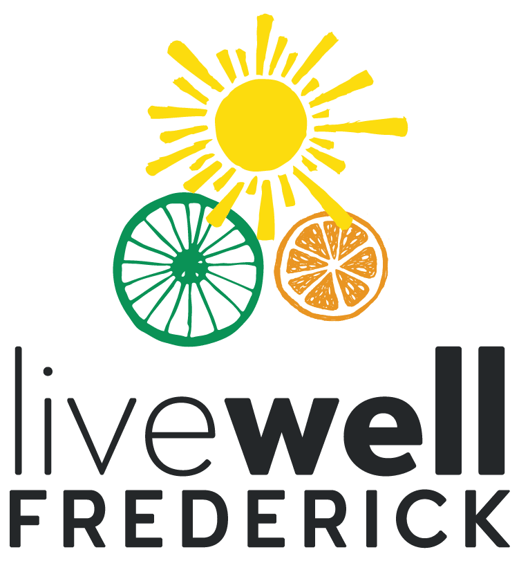 Livewell Frederick logo with a sun, orange and bike wheel