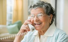 two senior women on the phone