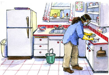 Woman cleaning kitchen wearing mask, gloves, and goggles