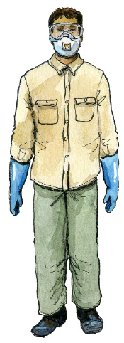 Man wearing mask, goggles, gloves, long sleeve shirt, long pants, and boots