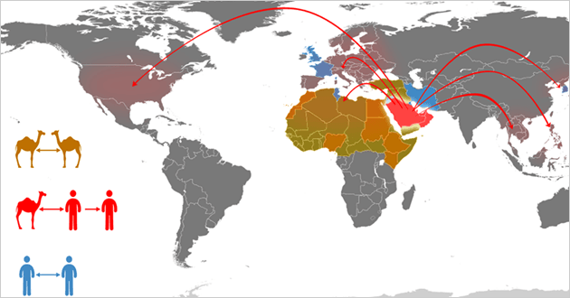 World Health Orgnization map of MERS-CoV