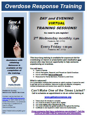 flyer for overdose response training Opens in new window