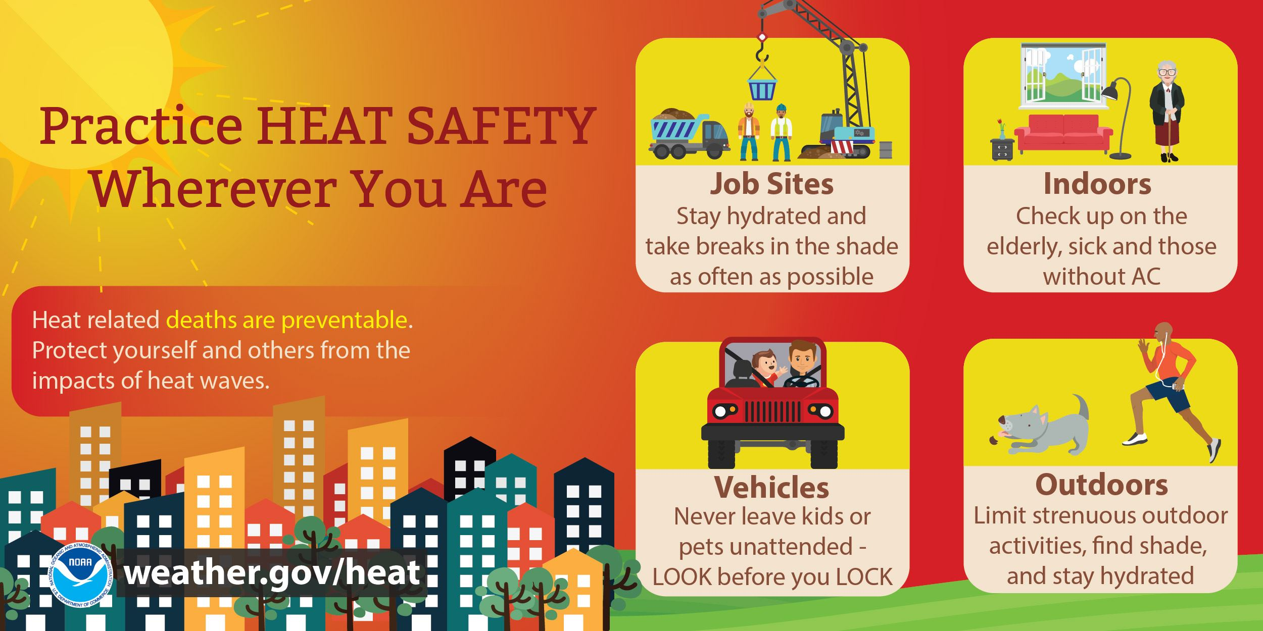 Image for practicing heat safety indoors, outdoors, in cars, & at job sites